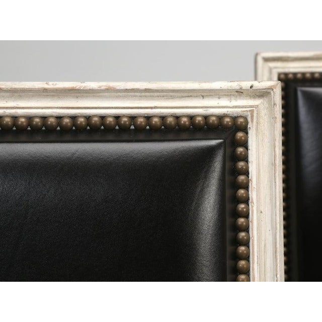 8 Painted French Louis XVI Dining Chairs W/ Leather For Sale In Chicago - Image 6 of 13