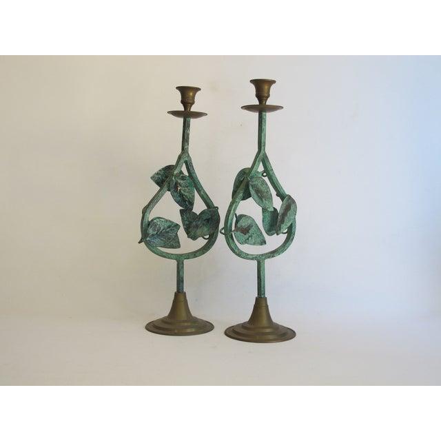 Verdigris Leaf Candleholders - Pair - Image 3 of 6