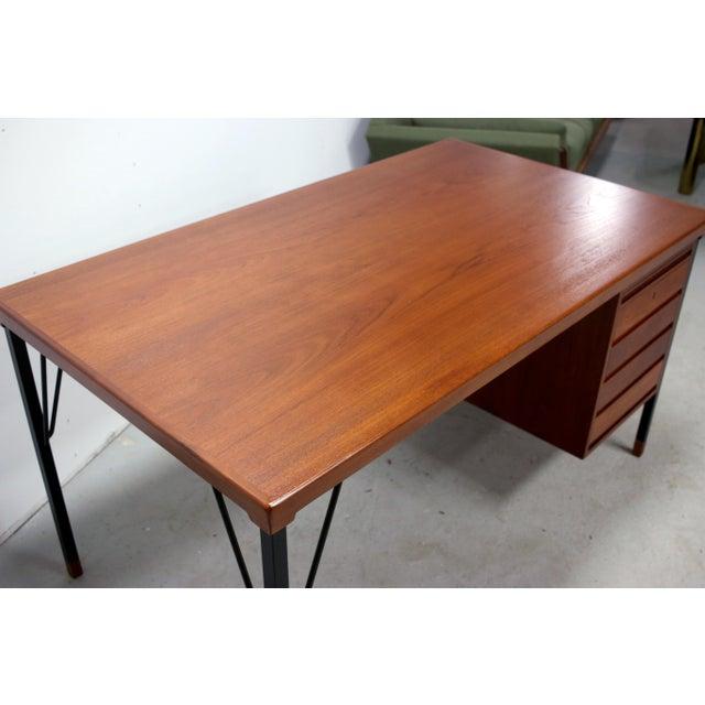 Black Vintage Danish Modern Arne Vodder for Jon Stuart Teakwood Writing Desk For Sale - Image 8 of 12