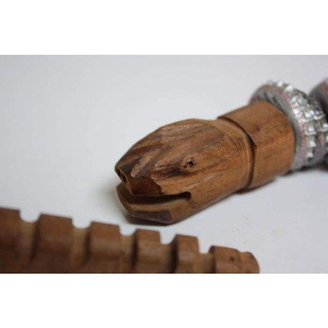 Folk Art Carved Wood and Bottlecap Snake after Felipe Archuleta - Image 9 of 10