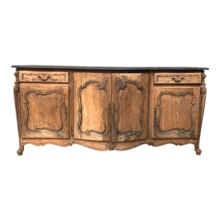 Antique French Dry Oak Buffet With Charcoal Grey Black Top For Sale