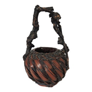 Gnarled Burl Wood and Split Bamboo Ikebana / Tea Ceremony Basket