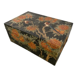 Antique Chinese Hand Painted Trunk For Sale