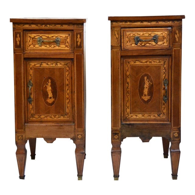 Italian Neoclassical Style Inlaid 19th Century Walnut Side Tables - A Pair For Sale
