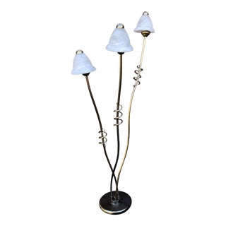 Mid-Century Atomic Style Chrome and Frosted Glass Shades Floor Lamp For Sale