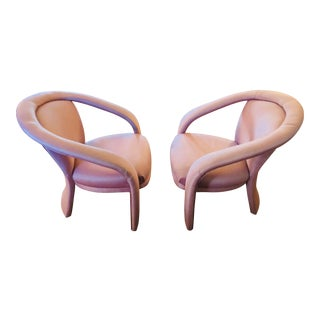 Pair of Blush Sculptural Club Chairs by Carson's Furniture For Sale