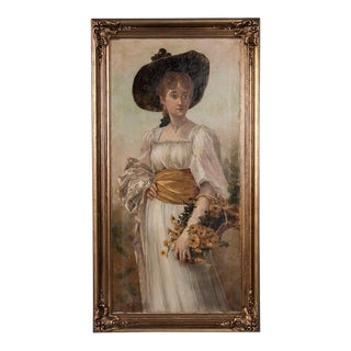 19th Century Antique English Oil Portrait of a Young Woman Painting For Sale