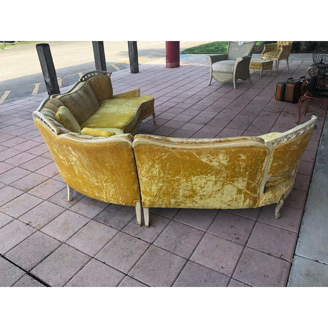 Hollywood Regency Yellow Velvet Italian Sectional For Sale In Miami - Image 6 of 8