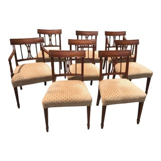 Baker Furniture Regency 20th Century Mohair Velvet Upholstered Dining Chairs - Set of 8 For Sale