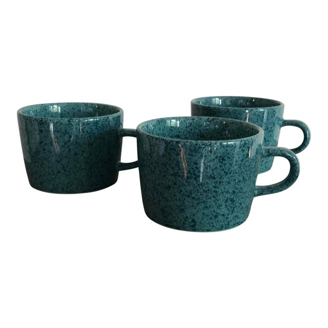 Vintage Japanese Turquoise Ceramic Teacups - Set of 3 For Sale
