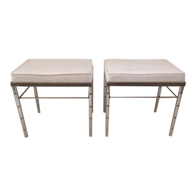 Stupendous 1970S Vintage Chrome Faux Bamboo Benches A Pair Customarchery Wood Chair Design Ideas Customarcherynet