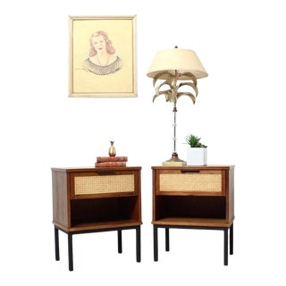 Pair of Rattan Boho Nightstands For Sale