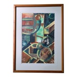 Image of 1970s Vintage Abstract Shapes Painting For Sale