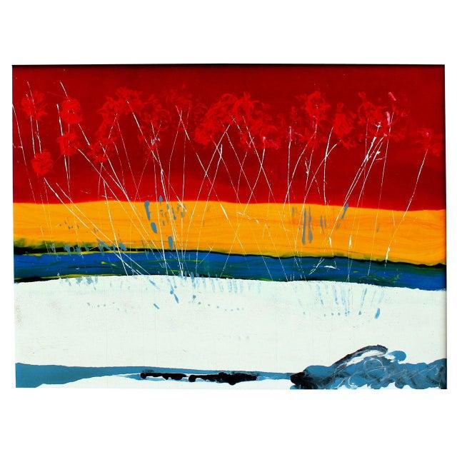 Large Vintage Expressionist Landscape Painting Signed Enamel on Board For Sale - Image 11 of 11