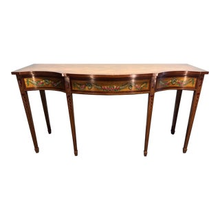 Wellington Hall Mahogany Serpentine Hand Painted Floral Sideboard For Sale