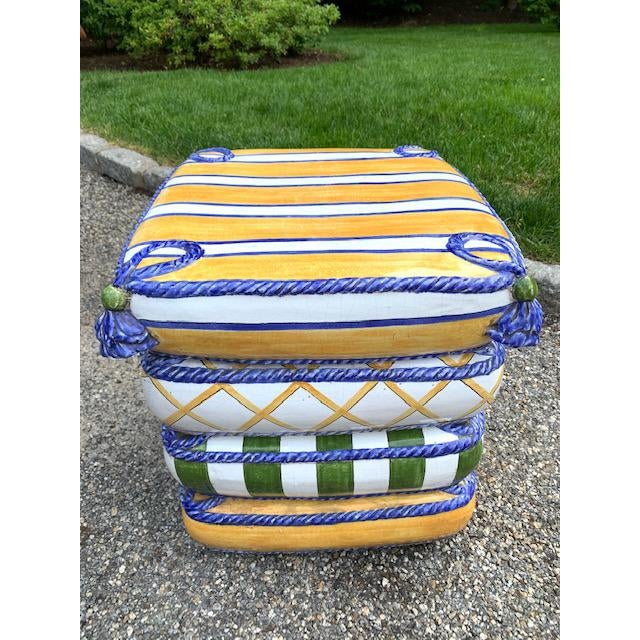 Mid-Century Modern 1970s Italian Trompe l'Oeil Stacked Pillow Teracotta Garden Seat For Sale - Image 3 of 10