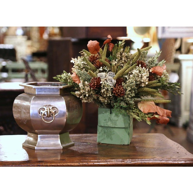 Bronze 19th Century French Bronze and Silvered Engraved Planter With Floral Arrangement For Sale - Image 8 of 13