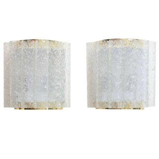 Pair of Doria Textured Ice Cube Pipe and Brass Wall Sconces For Sale