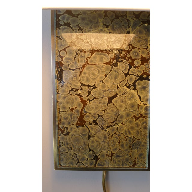 Modern Brass and Marbleized Wall Sconce V2 by Paul Marra - Image 6 of 13