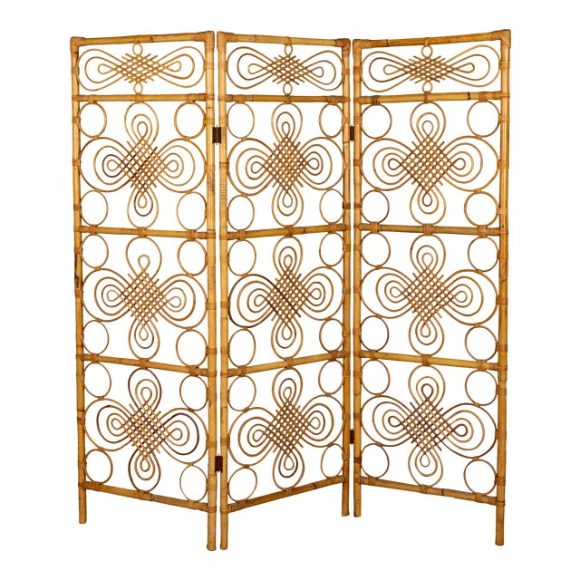 Mid Century French Riviera Bamboo and Rattan Screen For Sale