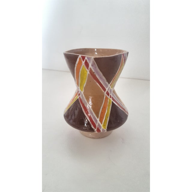 Vintage Studio Pottery Small Sculptural Vase Featuring a diamond, geometric pattern with hues of chocolate Brown, tan,...