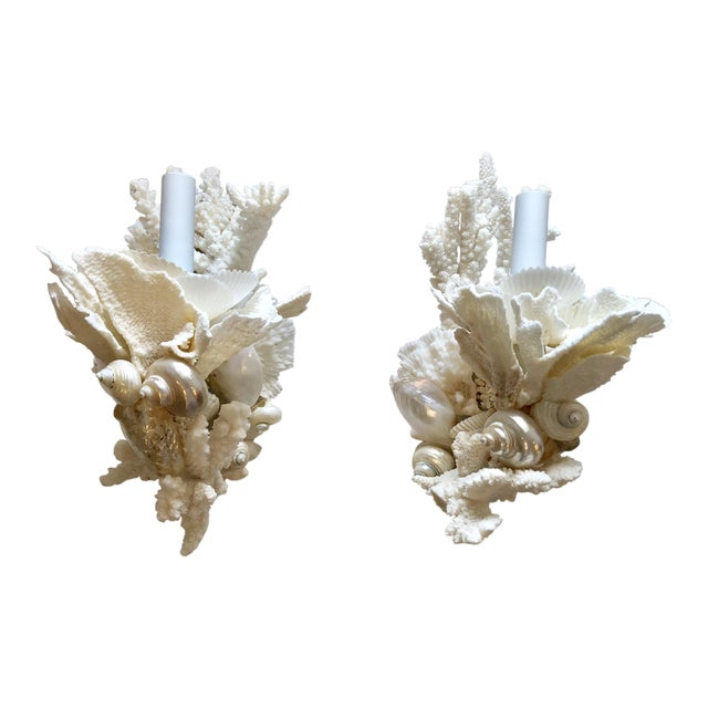 Organic Modern Christa's South Seashells One-Light Coral Sconces - a Pair For Sale