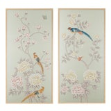 "Image of Jardins en Fleur ""Chatsworth House"" Chinoiserie Hand-Painted Silk Diptych Framed in Burnished Gold by Simon Paul Scott – 2 Pieces For Sale"