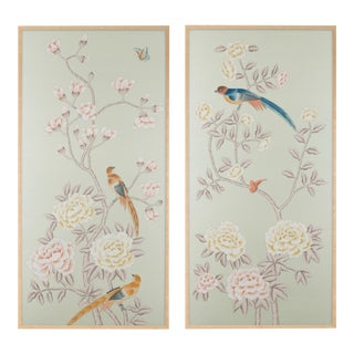 "Jardins en Fleur ""Chatsworth House"" Chinoiserie Hand-Painted Silk Diptych Framed in Burnished Gold by Simon Paul Scott – 2 Pieces For Sale"