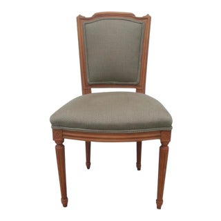 1990s Vintage French Louis XVI Upholstered Side Chair For Sale