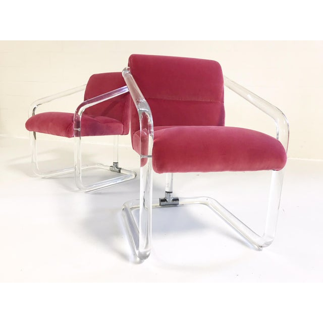 Vintage Lion in Frost Lucite Chairs Restored in Loro Piana Pink Velvet With Gucci Pillows - Pair For Sale - Image 9 of 11