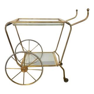 1960's Italian Solid Brass Bar Cart For Sale