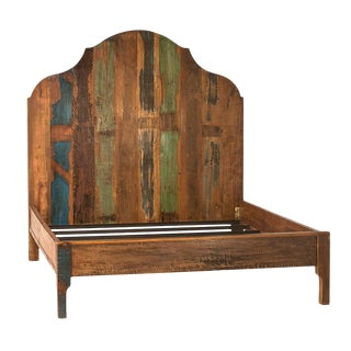 Distressed Painted Wood Bed Frame Eastern King For Sale