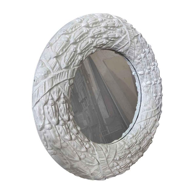 Transitional Antique Zinc Window Surround Circular Mirror For Sale - Image 3 of 4