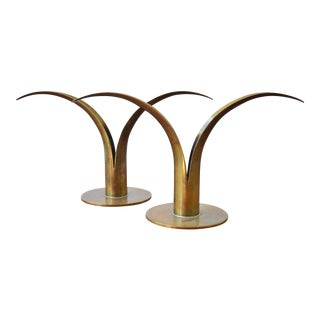 The Lily Brass Candle Holders by Ivar Ålenius Björk for Ystad Metall - a Pair For Sale