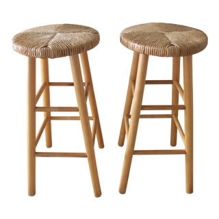 Vintage Natural Rush Seat Wood Bar Stool Set of 2 For Sale
