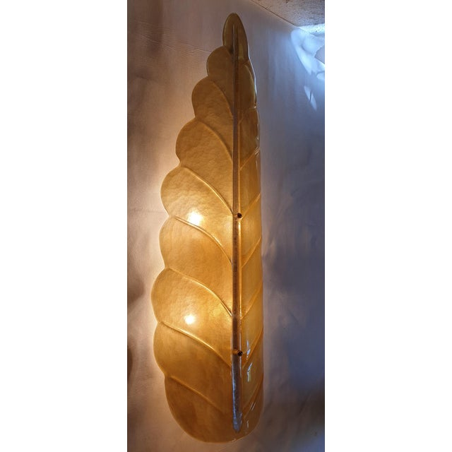 Pair of Large Leaf Murano Glass Mid Century Modern Sconces by Barovier, 1970s For Sale In Boston - Image 6 of 11