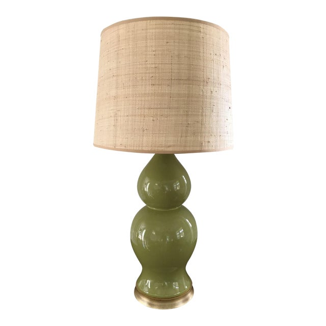 Green Ceramic Gourd Lamp With Gilded Gold Base - Image 1 of 5