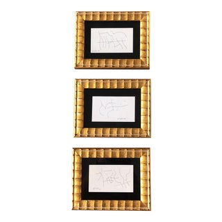 Gallery Wall Collection 3 Vintage Miniature Abstract Robert Cooke 1980s Ink Drawings- Set of 3 For Sale