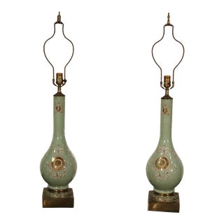 Pair of Eglomise Paint Decorated Gilded Italian Style Table Lamps, Circa 1940s For Sale