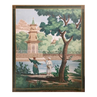 Vintage French Scenic Hand Painted Canvas Panel Wallpaper For Sale