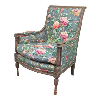Louis XVI Carved Grey Paint Distressed Bergere For Sale
