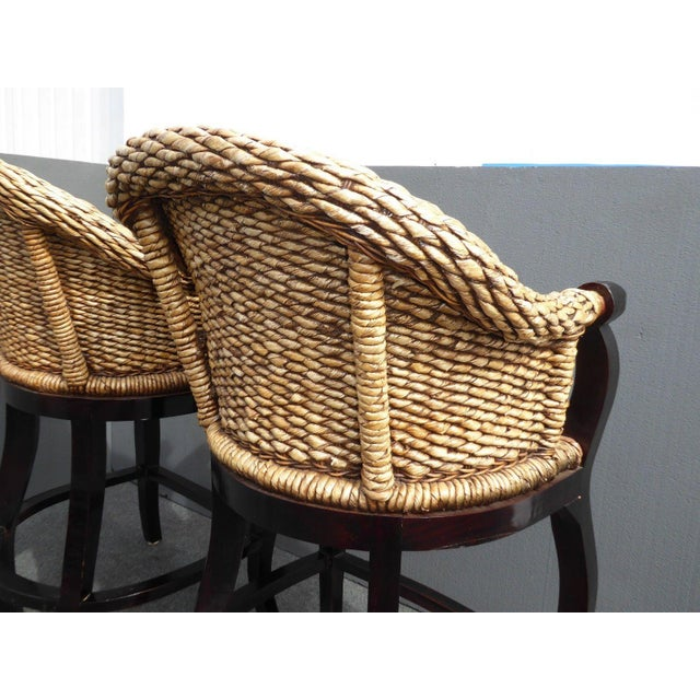 Tiki Palm Beach Style Woven Wicker Bar Stools - A Pair - Image 11 of 11