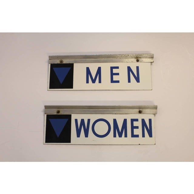 1950's enamel double sided gas station Men & Women restroom signs.