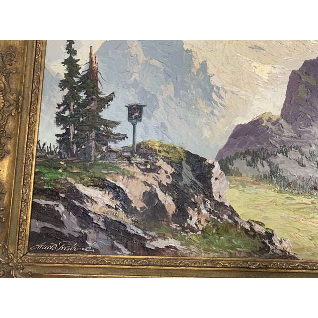 Canvas Large Framed Mountain Scene Oil Painting in Gilt Gold Frame For Sale - Image 7 of 13