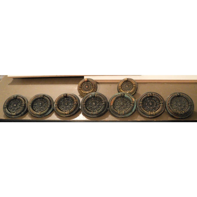 Antique Victorian Regency Bronze/Copper Round Drawer Pulls - Set of 9 For Sale - Image 4 of 5