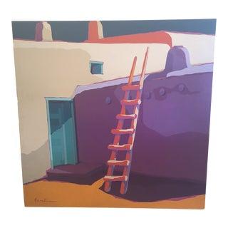 Graphic Santa Fe Building Exterior by Jk Lamkin For Sale
