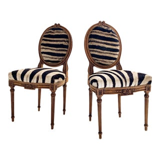 Louis XVI Style Side Chairs Restored in Zebra Hide - Pair For Sale