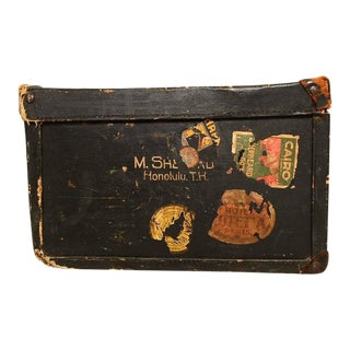 Vintage Travel Case / Box in Black Canvas with Leather Handle