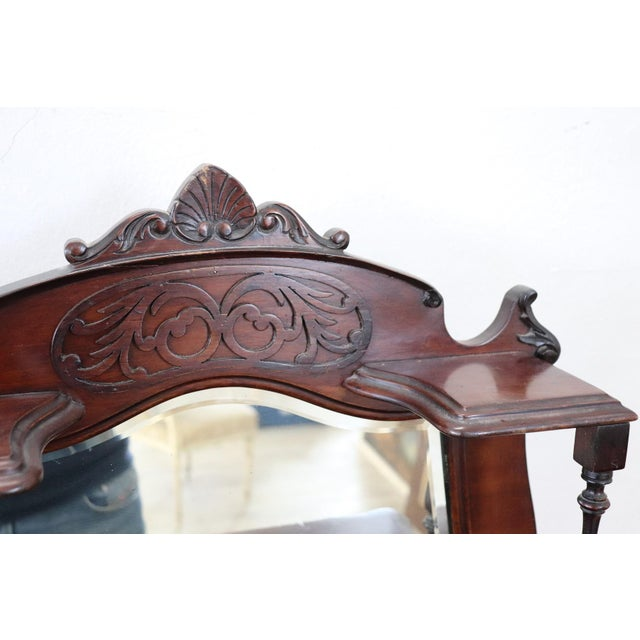 19th Century English Mahogany Carved Antique Vitrine or Display Cabinet For Sale - Image 9 of 11