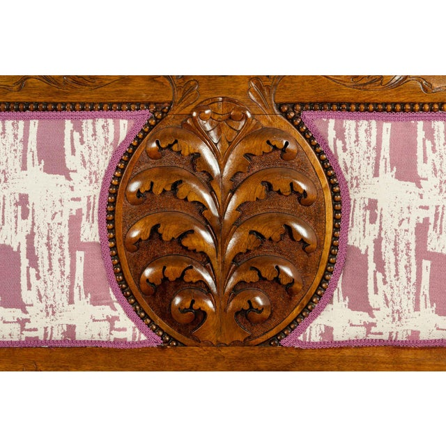 Mid 19th Century Mid-19th Century Hand Carved Mahogany Victorian Style Settee For Sale - Image 5 of 13